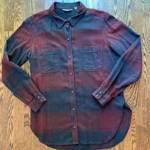 NWOT Athleta Maroon/Blue Plaid Flannet Button Down
